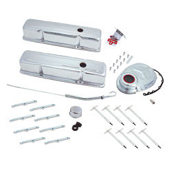 Spectre Block Chevy Engine Dress Up Kit, 5404, includes 2 tall-profile baffled chrome valve covers, chrome hold down hardware and a dip stick