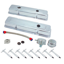 Small block Chevy chrome dress up kit, 54083, from Spectre Performance for those needing to retain the OEM style
