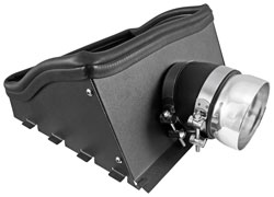 Powder-coated heat shield blocks hot engine air from entering the intake inlet.