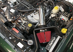 Engine bay shot with Spectre Intake of Jeep Cherokee XJ 4.0-liter inline six