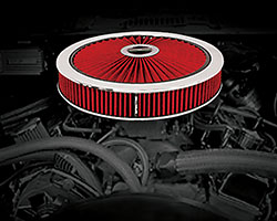"""The Spectre Extraflow 14"""" air cleaner assembly will deliver increased airflow compared to a standard paper filter and with four color choices it will a provide custom look under the hood"""