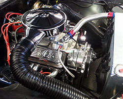 Under the hood of this Chevrolet is a 383 cubic inch Chevrolet small block stroker motor
