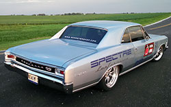 The Roadster Shop chassis used in this 1966 Chevrolet Chevelle uses new frame rails for an incredibly low ride height yet sufficient ground clearance for normal street driving