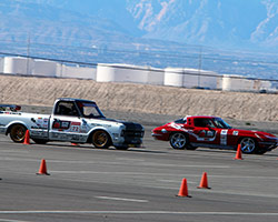 The OUSCI sets up the Autocross as a side-by-side mirrored course, and even though Brandy was on track in the 1972 Chevy C10 with Jane Thurmond they were actually racing the clock
