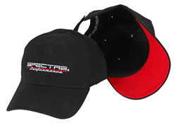 Because any time you paint something red, like brake calipers, you gain 5 MPH this Spectre Performance baseball hat features a red underside on the pre-curved brim