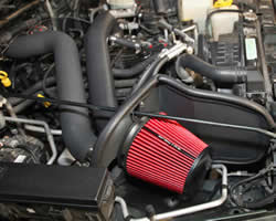 Engine bay shot of 1997-2006 Jeep Wrangler 4.0L air intake by Spectre