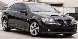 The 2008-2009 Pontiac G8 had an optional 6.0L V8, and in 2009 a GXP version of the G8 was offered bumping up power output to 415 horsepower