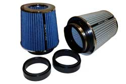 Spectre's multi-flange air filters include two insert adapters to allow the filters to clamp on to 3
