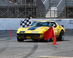 Chris Smith in the 48-hour Corvette with a Spectre Performance air intake at the Holley LS Fest Grand Champion