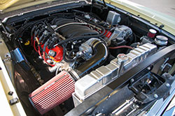 Engine bay of LSX-equipped first generation Mustang