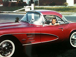 Greg Thurmond in his father's 1963 convertible Corvette