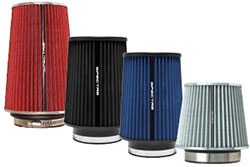 Spectre Performance air filters in a wide variety of shapes, colors, and sizes