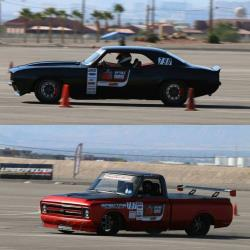 '69 Camaro and C10R competing in autocross