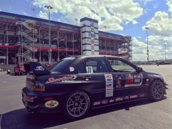 Passenger side view of the EVO at Charlotte Raceway