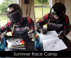 Rodney in his Spectre helmet and driving suit sitting with a K&N Filters coloring book