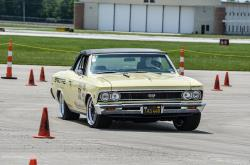 View of Lynda Jacobs on the autocross course in her '66 Chevelle, Wimpy