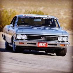 Front end view of the '66 Chevelle on the track.