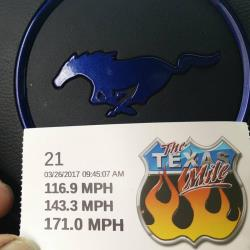 Photo of the time slip for Code_blu and the Texas Mile speeds