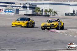 "Photo of Chris Smith in the ""48 Hour Corvette"" on the road course at LVMS"