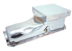 Spectre oil pans are availablein unfinished steel, triple chrome plated steel, and polished aluminum