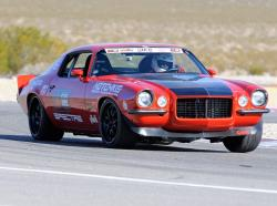 Mary Pozzi in her Inferno Orange '73 Camaro on Spring Mountain Road Course during 2011 OUSCI