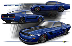 Brian Finch rendering of a 1967 Mustang body with a 2011 Mustang front end