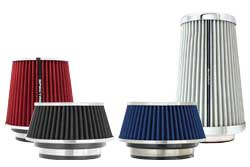 Spectre's multi-flange clamp on air filter are available in various sizes, heights and colors