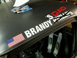 Brand Phillips name above C10R door crossed out for Brandy's Dad