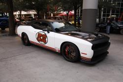 2016 Dodge Challenger Hellcat at the 2016 SEMA show with custom suspension and wheels