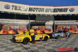 Shot of the 48 Hour Corvette and the RideTech '69 Ford Mustang Texas Motor Speedway with drivers