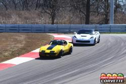 View of Chris Smith and Bret Voelkel on track at National Corvette Museum in the 48 Hour Corvette