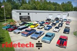 View of Bret Voelkel's Car Collection in front of the RideTech HQ.