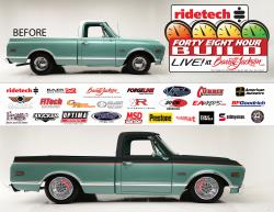 Picture of the 48 Hour C-10 before and after rendering for the Barrett-Jackson Auction at Westworld