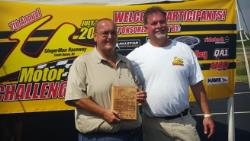 Picture of Bret Voelkel accepting his award for 2nd place finish at the Motor State Challenge