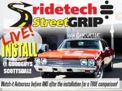Picture of ad for the Live Install of RideTech equipment at the Scottsdale Goodguys show.
