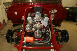 Photo of the Red 1967 C-10 700 hp 434 cubic inch small block engine.