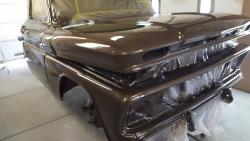 The C10 receiving several coats of Honda CR-V brown paint
