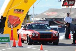 Mary at the autocross start line at 2011 Optima Ultimate Street Car Invitational